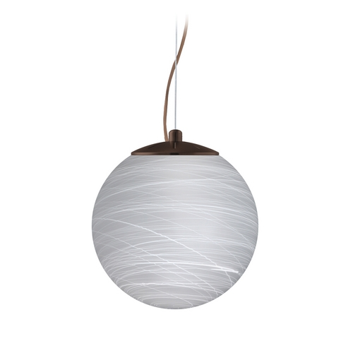Besa Lighting Modern Pendant Light with White Glass in Bronze Finish 1KX-432860-BR