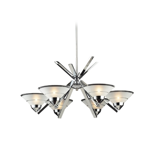 Elk Lighting Modern Chandelier with White Glass in Polished Chrome Finish 1475/6