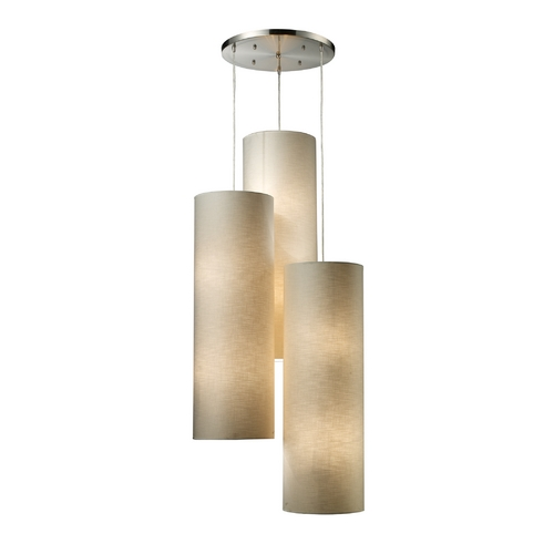Elk Lighting Multi-Light Pendant Light with Beige / Cream Shades and Multi-Lights 20160/12R