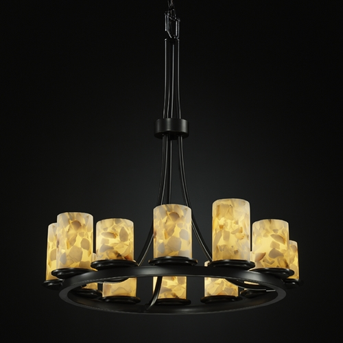 Justice Design Group Justice Design Group Alabaster Rocks! Collection Chandelier ALR-8763-10-MBLK