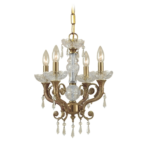 Crystorama Lighting Crystal Mini-Chandelier in Aged Brass Finish 5174-AG-CL-S