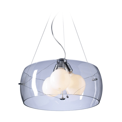 PLC Lighting Modern Drum Pendant Light with Clear Glass in Polished Chrome Finish 81558 PC