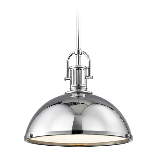 Design Classics Lighting Industrial Pendant Light with Chrome Metal Shade 13.38-Inch Wide 1764-26 SH1776-26