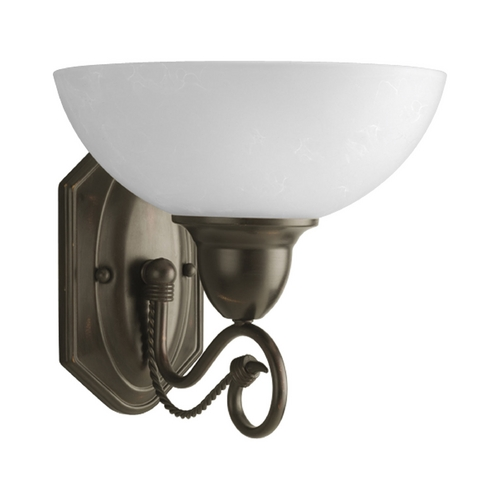 Progress Lighting Progress Sconce Wall Light with White Glass in Antique Bronze Finish P3265-20