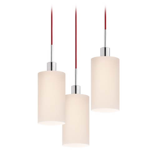 Sonneman Lighting Modern Multi-Light Pendant Light with White Glass and 3-Lights 3560.01R-3