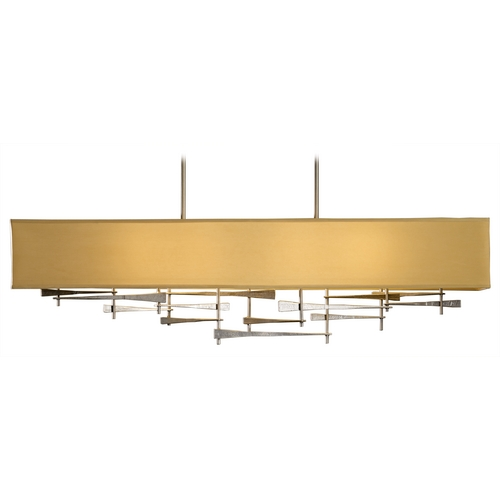 Hubbardton Forge Lighting Hubbardton Forge Lighting Cavaletti Burnished Steel Island Light with Rectangle Shade 137670-08-589