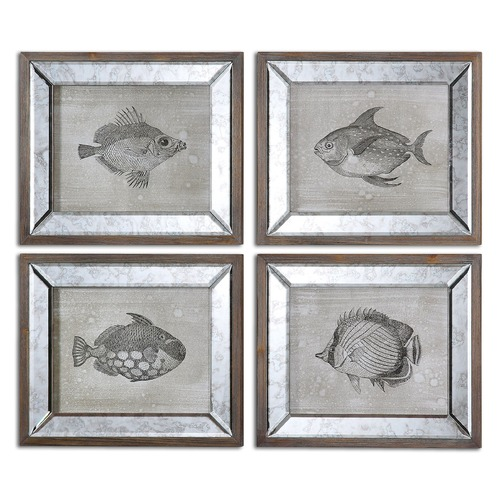 Uttermost Lighting Uttermost Mirrored Fish Framed Art Set of 4 41700