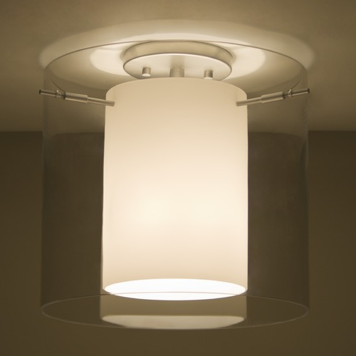 Besa Lighting Besa Lighting Pahu Satin Nickel Semi-Flushmount Light 1KM-C18407-SN