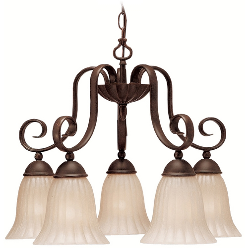 Kichler Lighting Kichler Chandelier with Beige / Cream Shades in Tannery Bronze Finish 1826TZ