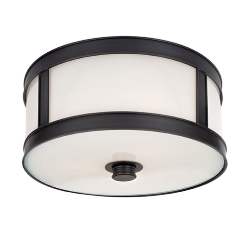 Hudson Valley Lighting Flushmount Light with White Glass in Old Bronze Finish 5510-OB