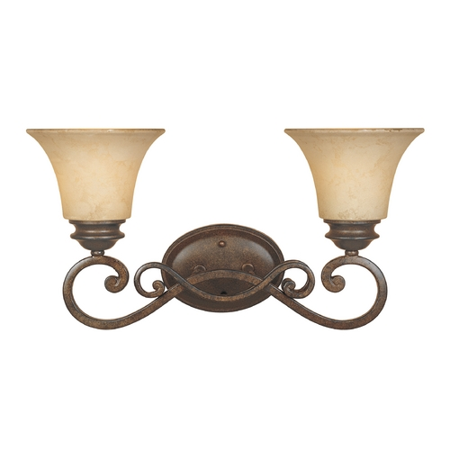 Designers Fountain Lighting Bathroom Light with Amber Glass in Forged Sienna Finish 81802-FSN