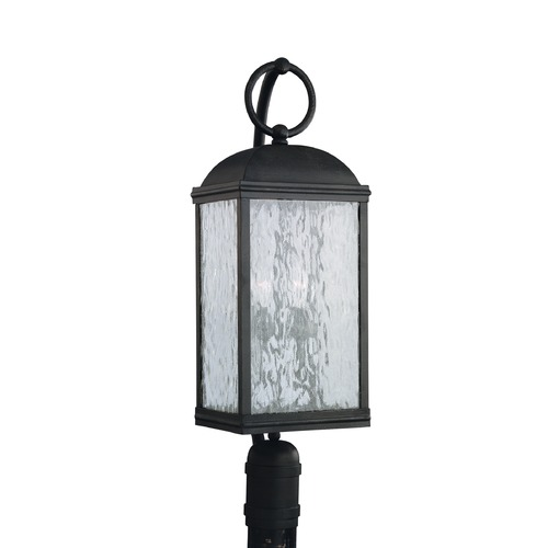 Sea Gull Lighting Post Light with White Glass in Obsidian Mist Finish 82190-802