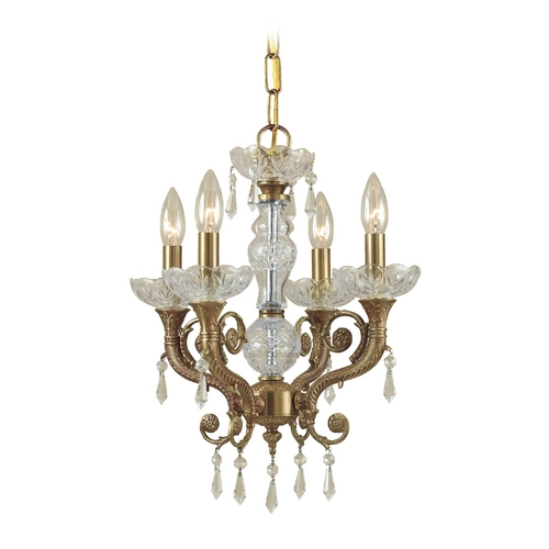 Crystorama Lighting Crystal Mini-Chandelier in Aged Brass Finish 5174-AG-CL-SAQ
