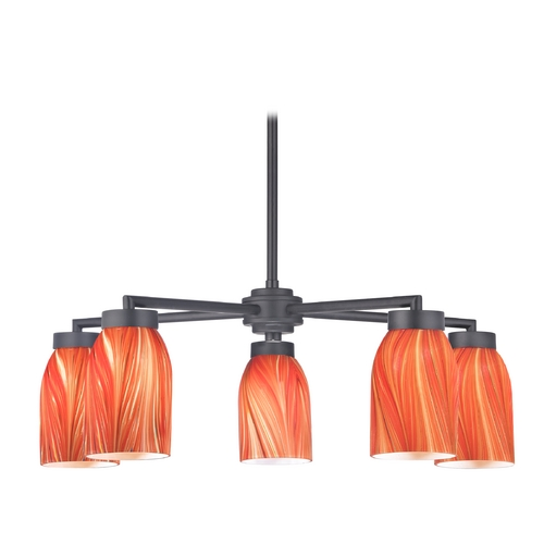 Design Classics Lighting Modern Chandelier with Five Lights and Red Art Glass in Black Finish 590-07 GL1017D