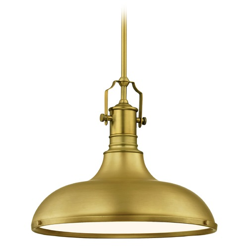 Design Classics Lighting Farmhouse Pendant Light with Satin Brass Metal Shade 15.63-Inch Wide 1765-12 SH1777-12 R1777-12