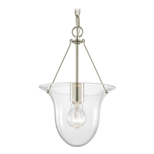 Design Classics Lighting Foyer Pendant Light in Satin Nickel with Clear Glass 1818-09  G1818-CLR