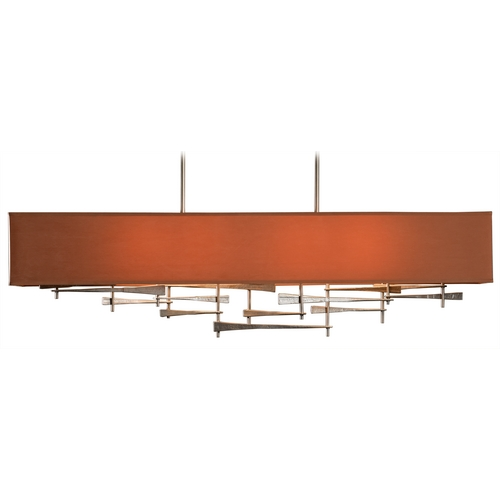 Hubbardton Forge Lighting Hubbardton Forge Lighting Cavaletti Burnished Steel Island Light with Rectangle Shade 137670-SKT-STND-08-SC4298