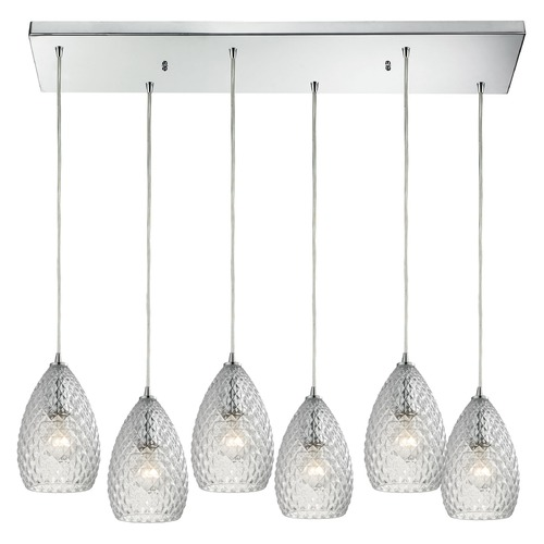 Elk Lighting Elk Lighting Geval Polished Chrome Multi-Light Pendant with Bowl / Dome Shade 10253/6RC-CL