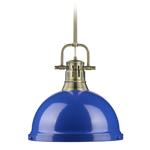 Golden Lighting Golden Lighting Duncan Ab Aged Brass Pendant Light with Bowl / Dome Shade 3604-L AB-BE
