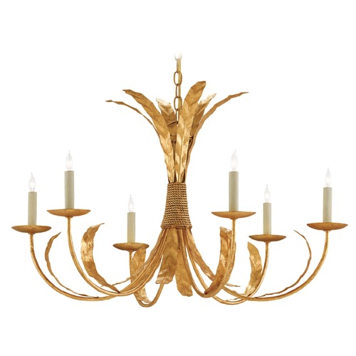 Currey and Company Lighting Currey and Company Bunny Williams Grecian Gold Leaf Chandelier 9000-0186