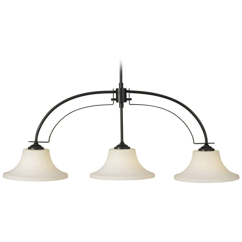 Feiss Lighting Modern Island Light with White Glass in Oil Rubbed Bronze Finish F2248/3ORB