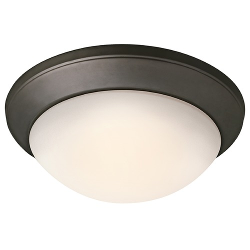 Kichler Lighting Kichler Modern Flushmount Light with White Glass in Olde Bronze Finish 8881OZ