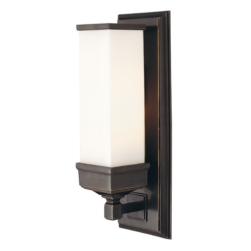 Hudson Valley Lighting Sconce Wall Light with White Glass in Old Bronze Finish 471-OB