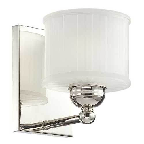 Minka Lighting Sconce with White Glass in Polished Nickel Finish 6731-1-613