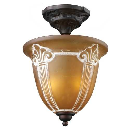 Elk Lighting Semi-Flushmount Light with Amber Glass in Aged Bronze Finish 66340-2