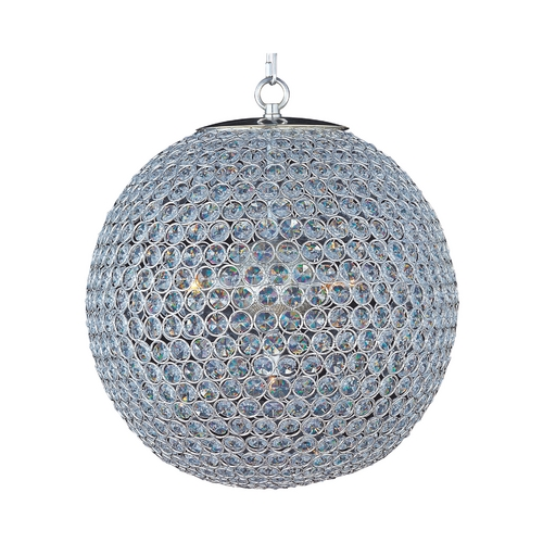 Maxim Lighting Maxim Lighting Glimmer Plated Silver Pendant Light with Globe Shade 39886BCPS