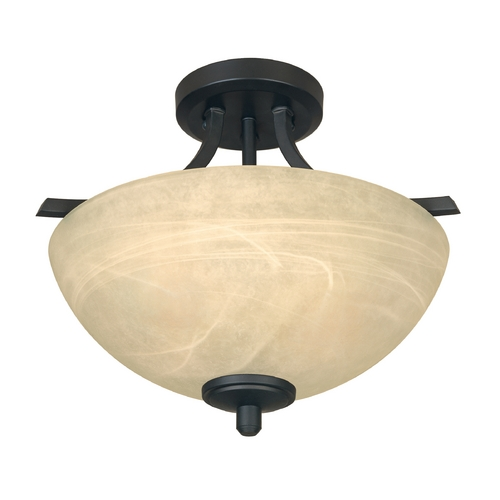 Designers Fountain Lighting Semi-Flushmount Light with Alabaster Glass in Burnished Bronze Finish 82911-BNB