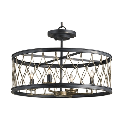 Currey and Company Lighting Semi-Flushmount Light in French Black/pyrite Bronze Finish 9902