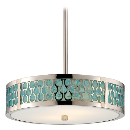 Nuvo Lighting Modern LED Drum Pendant Light with White Shade in Polished Nickel  62/146
