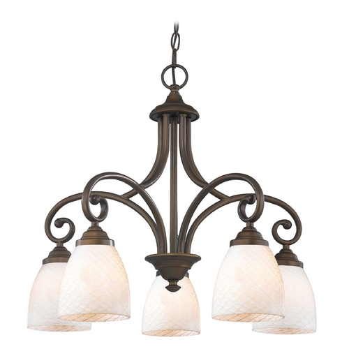 Design Classics Lighting Chandelier with White Glass in Neuvelle Bronze Finish 717-220 GL1020MB