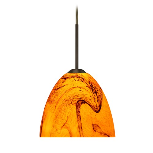 Besa Lighting Besa Lighting Sasha Ii Bronze LED Mini-Pendant Light with Bell Shade 1BT-7572HB-LED-BR