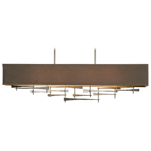Hubbardton Forge Lighting Hubbardton Forge Lighting Cavaletti Burnished Steel Island Light with Rectangle Shade 137670-08-591