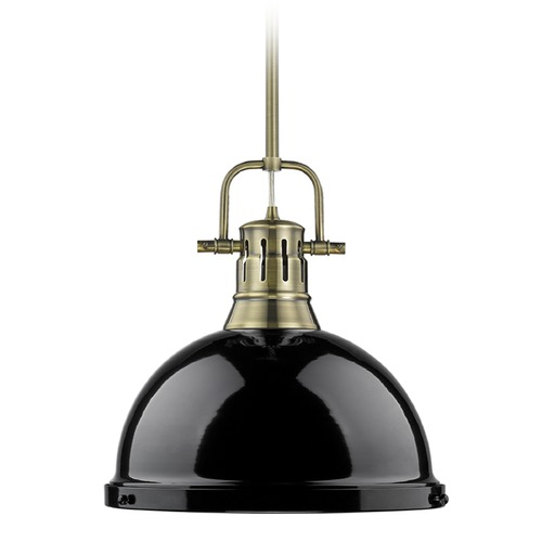 Golden Lighting Golden Lighting Duncan Ab Aged Brass Pendant Light with Bowl / Dome Shade 3604-L AB-BK