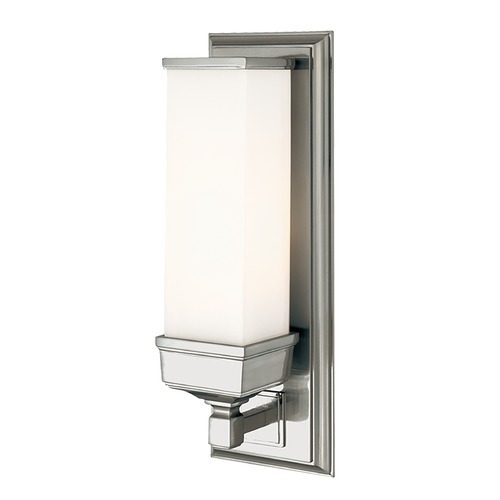 Hudson Valley Lighting Sconce Wall Light with White Glass in Polished Nickel Finish 471-PN