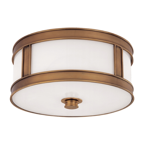 Hudson Valley Lighting Flushmount Light with White Glass in Aged Brass Finish 5513-AGB