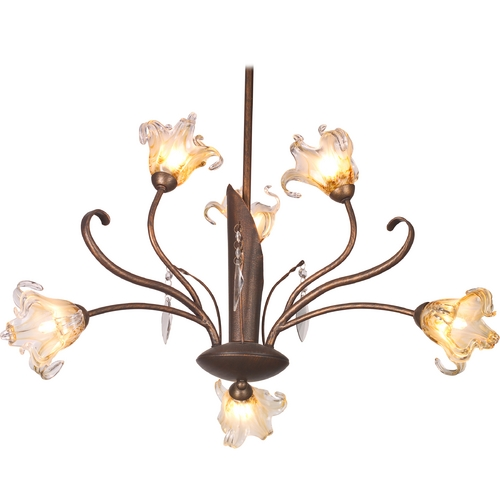 ET2 Lighting Modern Chandelier with Amber Glass in Antique Bronze Finish E22063-26
