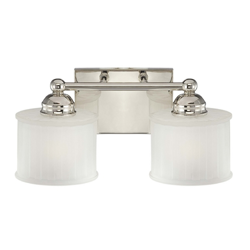Minka Lavery Modern Bathroom Light with White Glass in Polished Nickel Finish 6732-1-613