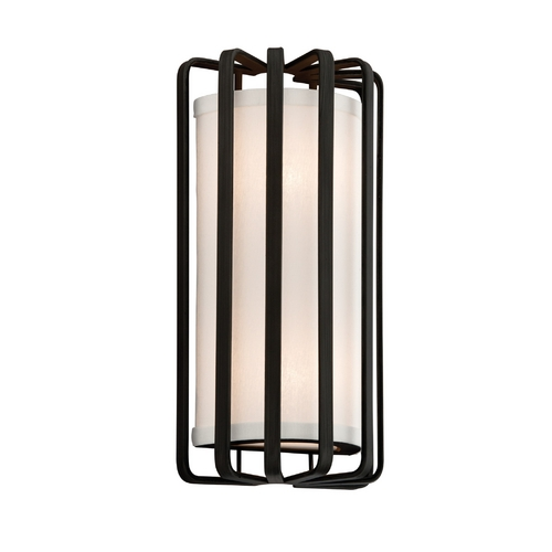 Troy Lighting Modern Sconce Wall Light with White Shade in Graphite Finish BF2811GR-L