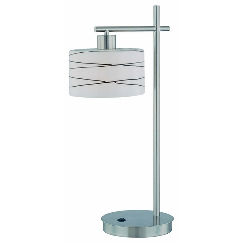 Lite Source Lighting Modern Table Lamp with White Shades in Polished Steel Finish LS-21513