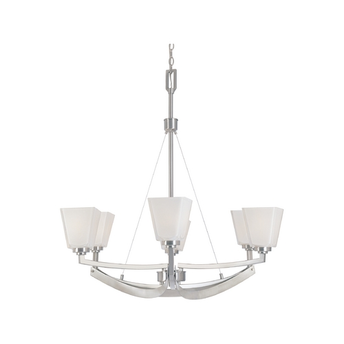 Designers Fountain Lighting Chandelier with White Glass in Satin Platinum Finish 83086-SP
