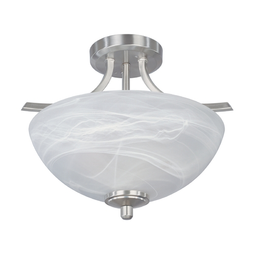 Designers Fountain Lighting Semi-Flushmount Light with Alabaster Glass in Satin Platinum Finish 82911-SP
