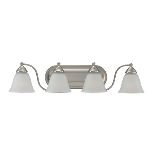 Sea Gull Lighting Bathroom Light with White Glass in Brushed Nickel Finish 44578-962