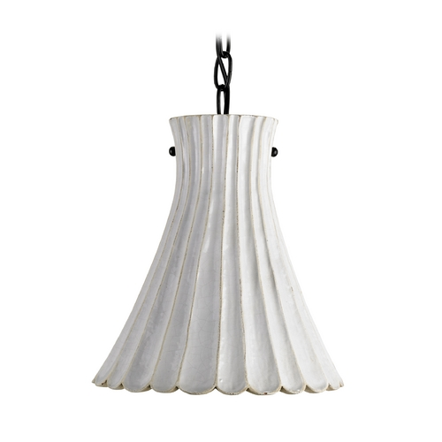 Currey and Company Lighting Modern Mini-Pendant Light with White Porcelain Shade 9901