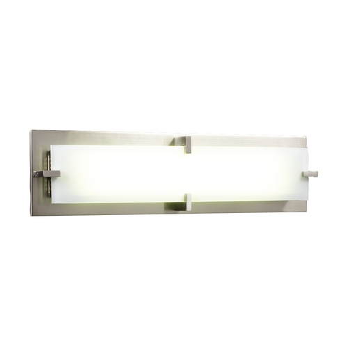 PLC Lighting Modern Bathroom Light with White Glass in Satin Nickel Finish 814 SN