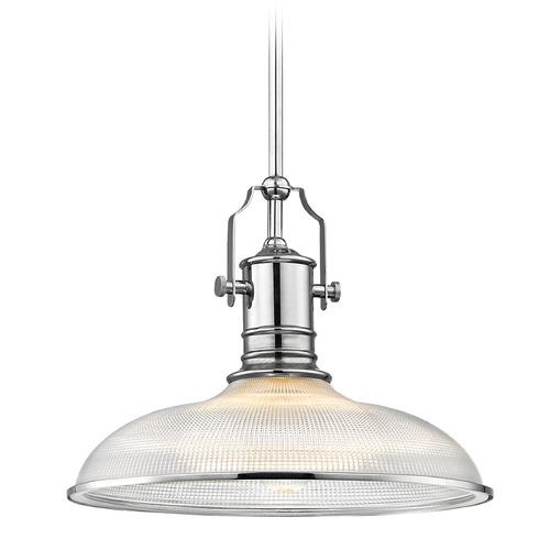Design Classics Lighting Prismatic Glass Pendant Light Chrome Finish 14.38-Inch Wide 1765-26 G1781-FC R1781-26