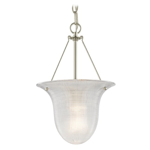 Design Classics Lighting Foyer Pendant Light with Prismatic Glass in Satin Nickel Finish 1818-09  G1818-FC